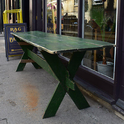"""9' 6"""" Long Vintage Romanian Dining Table - Large Green Painted Rustic Banquet"""