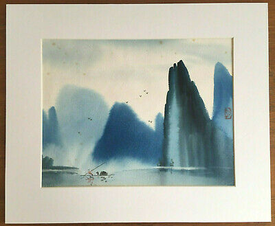 Vintage Antique Chinese Watercolour Painting, Blue Mountain Water Landscape