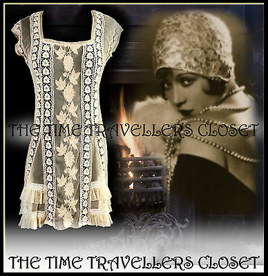 BNWT TOPSHOP ANTIQUE VINTAGE CREAM CROCHET LACE DRESS 20s FLAPPER 70s BOHO UK 10