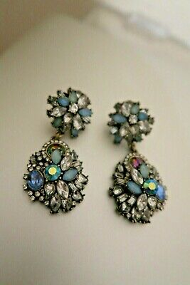 New cluster statement diamante gem crystal prom style dangly drop earrings blue