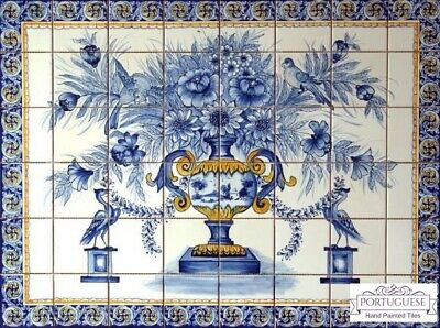 Portuguese Traditional Clay Azulejos Hand Painted Wall Tiles BLUE FLOWER VASE