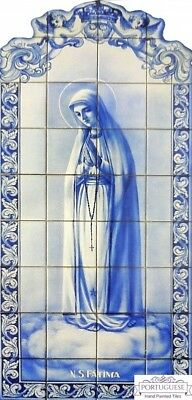 Portuguese Azulejos Traditional Ceramic Hand Painted Tile Mural OUR LADY FATIMA