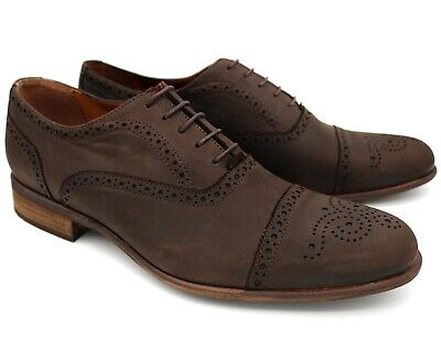 *S26 Uk 10 New Mens Brown Nubuck Leather Smart Brogue Shoes Lace Up Casual Eu 44