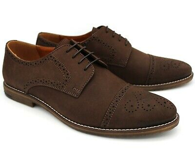 *S25 Uk 7 New Mens Brown Nubuck Leather Casual Brogue Shoes Lace Up Work Eu 41