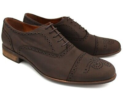 *S19 Uk 11 New Mens Brown Nubuck Leather Smart Brogue Shoes Lace Up Casual Eu 45