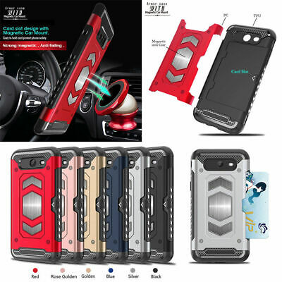 Case for Samsung Galaxy J7 2017 Armor ShockProof Magnetic Card Holder TPU Cover