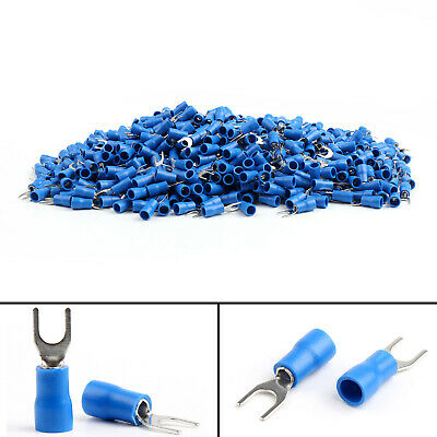 SV2-4 Insulated Fork Wire Connector Crimp Terminals 16-14AWG Blue BS2 BS2