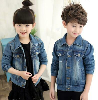 Kids Girls Boys Casual Denim Jacket Trench Biker Coat Fashion Long Sleeve Tops