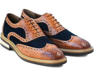 *866 Uk 6 New Mens Brown Brogue Shoes Lace Up Real Leather & Navy Suede Eu 40