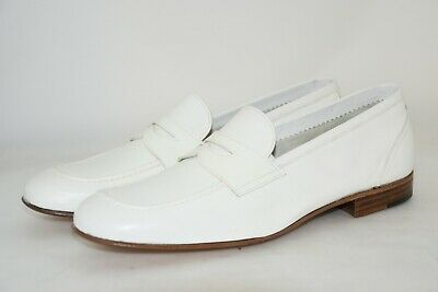 MAN-8eu-9usa-PENNY LOAFER-MOCASSINO-KANGAROO WHITE-CANGURO BIANCO-LEATHER SOLE
