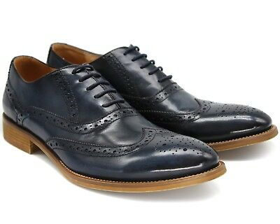 *835 Uk 6 New Mens Navy Real Leather Casual Brogues Shoes Smart Eu 40