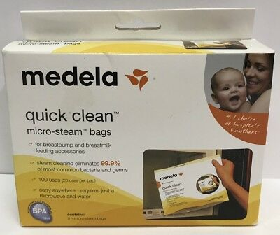 Medela - Quick Clean Micro Steam Bags - 5 Bags/Box #87024, New
