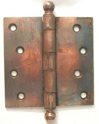 "1 Antique McKinney Hinge 4"" Square Japanned Copper Ball Tip Finials Mortise Door"