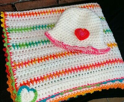 """Handmade crochet """"Fiesta"""" Colourful Chunky Baby blanket & sunhat one off special"""