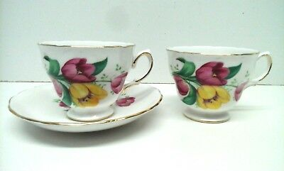 Crown Royal Bone China - 2 x Tea Cups and 1 x Saucer - Vintage