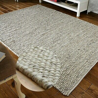 Small Extra Large 100% Pure Wool Pebbles 3D Grey Silver Online Rugs On Sale