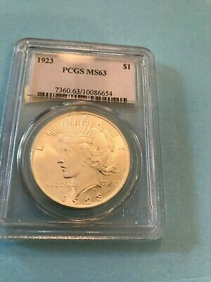 1923 Certified PCGS MS63 Peace Dollar 90%Silver One Coin