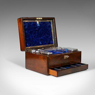 Antique Vanity Box, English, Victorian, Travelling Case, Rosewood, Circa 1850