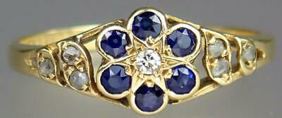 Glorious Antique Art Deco 18K Gold Diamond Sapphire Floral Star Ring 1933 Size 8