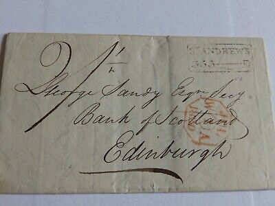(4425) 1820 Pre Stamp Entire From St Andrews To Edinburgh With 353 Mileage Mark