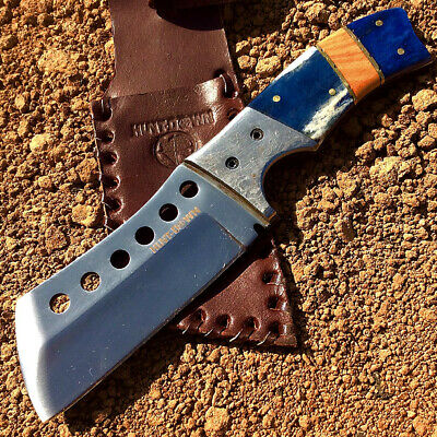 "Hunt-Down 9"" Hunting Knife with Damascus Handle and Leather Sheath"