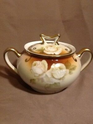 Antique hand painted Wittelsbach Germany White rose sugar dish.