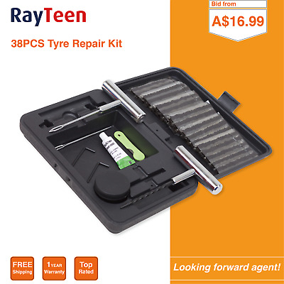 RayTeen 38PCS Tyre Puncture Repair Kit Recovery Tool Heavy Duty 4WD Plugs Tube