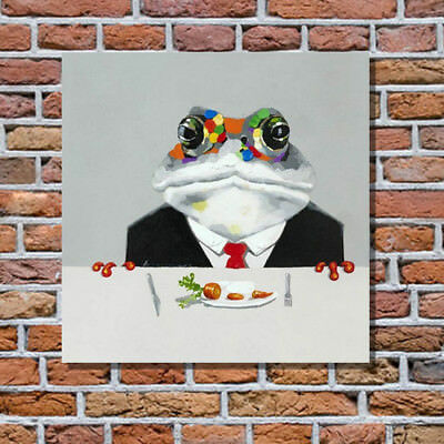 Pop Art Animal Oil Painting on Canvas the Food for Mr Frog Hand Painted