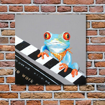 Modern Frog Oil Painting Piano Art Pop Hand Painted Canvas Animal Oil Paintings