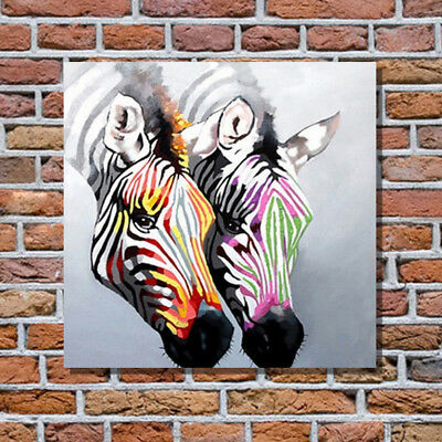 Two Colorful Zebras Oil Painting Contemporary Abstract Art Animal Painting
