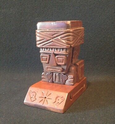 Vintage MCM Tiki Statue Ashtray Wonderful Carved Wood Super Rare 1960s
