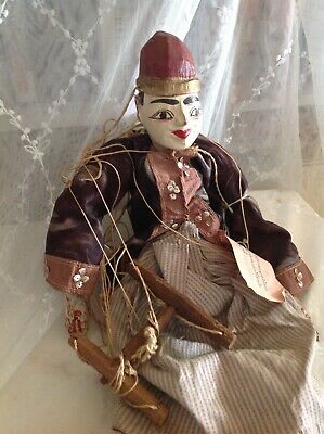 Antique Vintage Burmese/ Myanmar  Painted Wooden Articulated Marionette ~Puppet