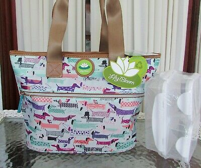 Lily Bloom Dachshund Dogs Insulated Lunch Tote Bag Cooler & Containers NWT!