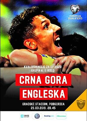 Programme Montenegro v England 2019 Euro Qualifiers. Unofficial