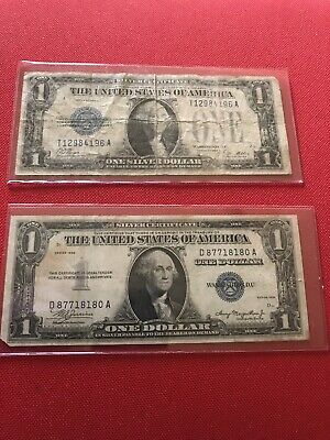 Lot Of (2) $1 Silver Certificates (1) 1928 A and (1) 1935 Plain