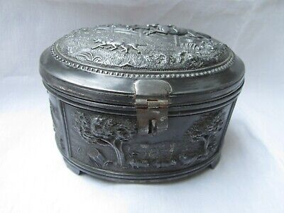 Antique Early 19th century Box Pastoral Hunting Tobacco Tea Box Touch Seal