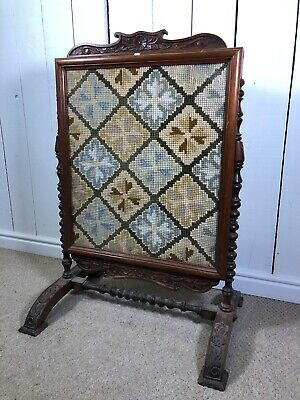 Antique Victorian Fire Screen. Vintage Firescreen With Embroidered Pattern