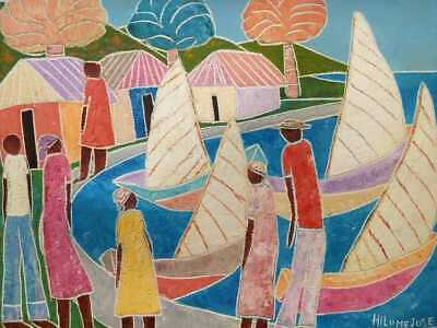 1970s oil/canvas HILOME JOSE (b. 1947) Haitian MODERNIST folk BEAUTIFUL COLORS