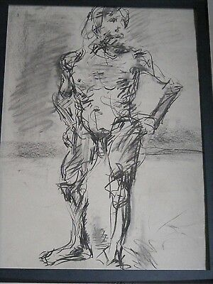 Figure life drawing nude expressive, charcoal/paper, man standing , A1/A2 size @