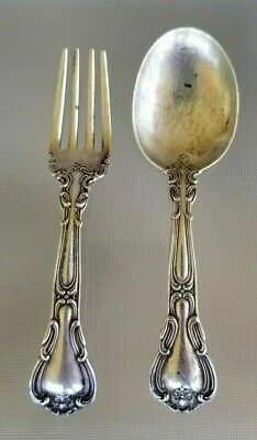 Gorham Chantilly sterling silver Baby Spoon and Fork No Monogram Set