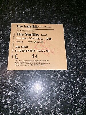 THE SMITHS (October 30th 1986) CONCERT TICKET @ Manchester Free Trade Hall
