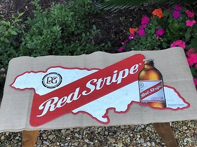 "Red Stripe Jamaica Large Beer Tin Sign Bar Man Cave Decor Jamaican 36""X 17"" New"