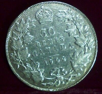 1902 Canada Fifty Cents - King George Silver Coin