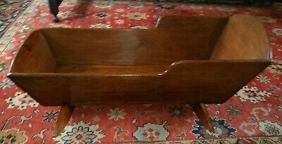 Antique Primitive Handcrafted Dovetail Large Wooden Rocking Baby Cradle 41.75""