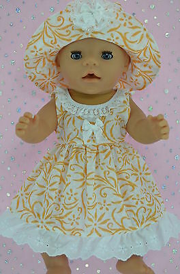 """Play n Wear Doll Clothes To Fit 17"""" Baby Born  WHITE/ORANGE FLOWER DRESS~HAT"""