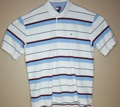 fa01d710 Tommy Hilfiger Mens Size XXL Polo Shirt Short Sleeve Blue Red White Striped  2XL