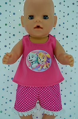 "Play n Wear Doll Clothes To Fit 17"" Baby Born POLKA DOT PANTS~HOT PINK TOP"