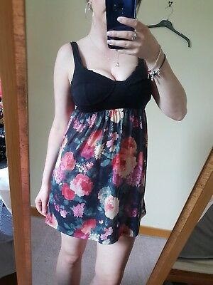 4ff0fa8efdde TopShop Floral Dress Top Mini Summer Black Strappy Holiday Fit and baggy Size  10