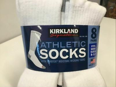 Kirkland Signature Mens Athletic Socks 8-pair NEW white  Fits shoe size 8-12 NWT
