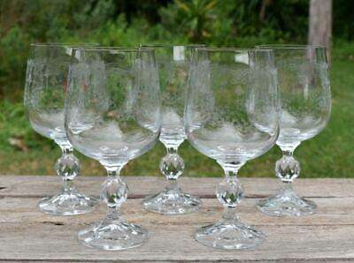 """5 Bohemian CRYSTAL Faceted ETCHED Stems """"CASCADE"""" Floral Heart WATER GOBLETS"""